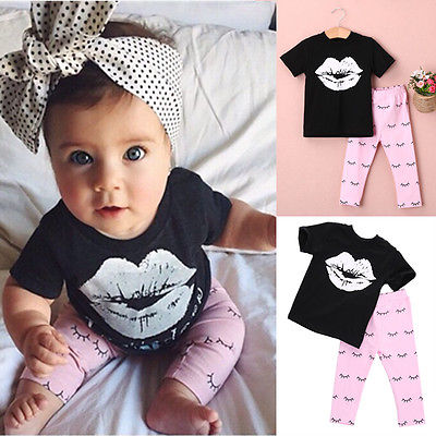 цена на 2016 Kids Baby Girls summer clothes set 2pcs suit Lips Tops and eyelash Pink Pant children's clothing sets