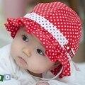 Crianças crianças bebés meninas chapéu de sol Polka Dot flor balde Cap Bowknot pérola Hat