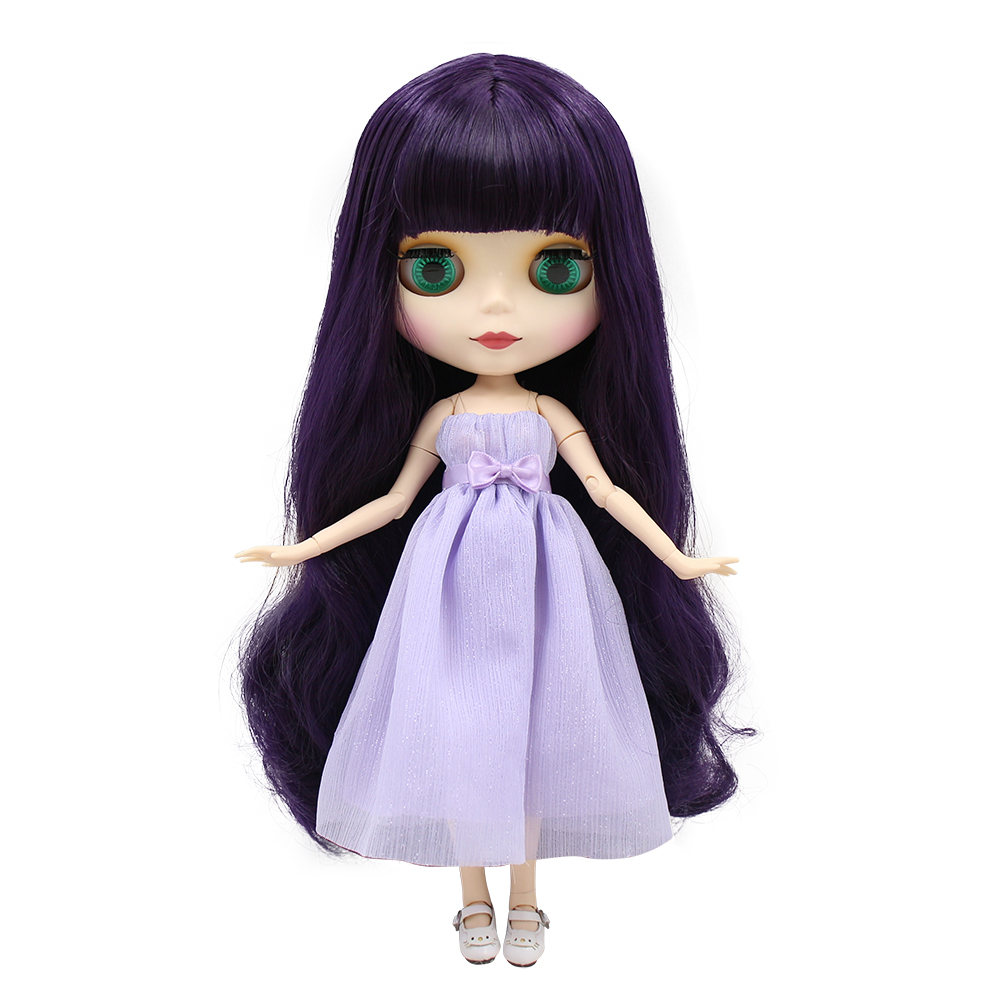 factory blyth doll purple hair matte face white skin joint body 1/6 30cm BL169 factory blyth doll custom your doll choose hair face body skin only one doll design your own doll