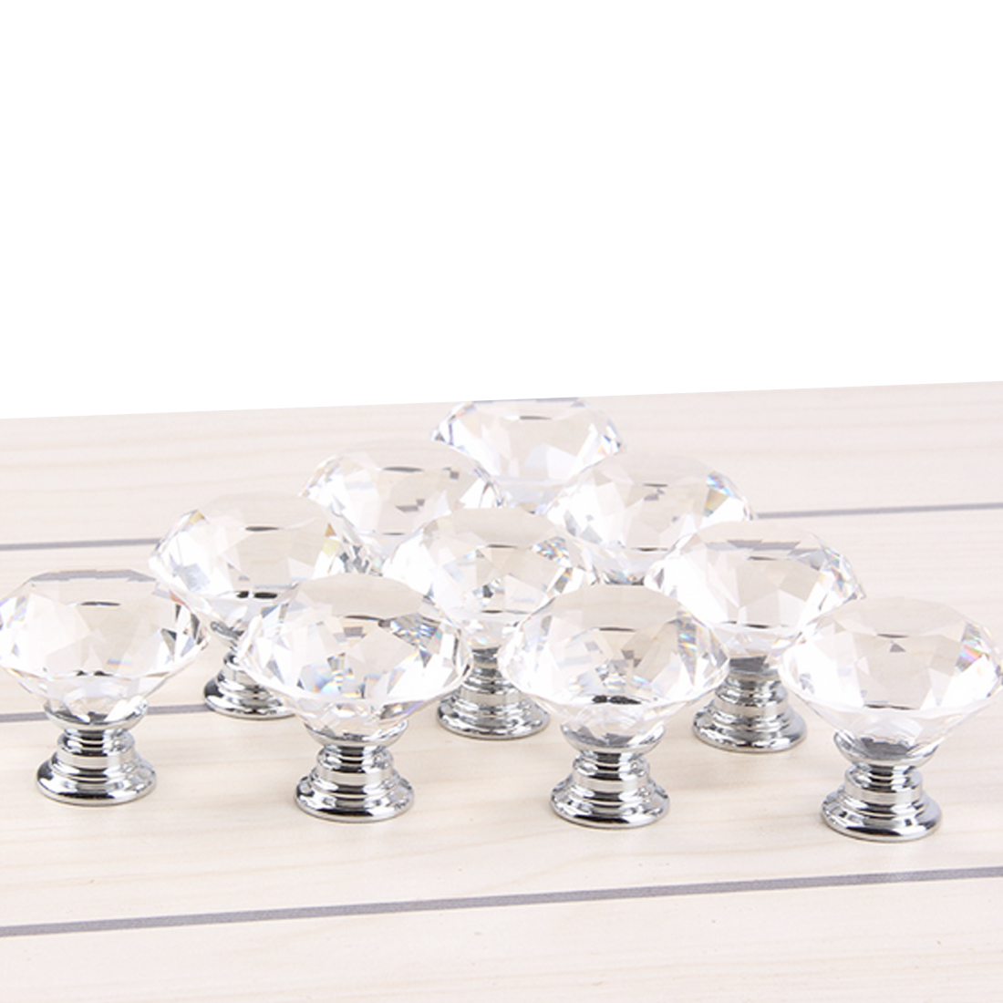 Hot 10 Pcs 30mm Diamond Shape Crystal Glass Door Handle Knob for furniture Drawer Cabinet Kitchen Pull Handles Knobs Wardrobe free shipping hot sale 10pcs k9 crystal handles flash diamond archaize shiny drawer twinkle door knob bathroom handle crystal