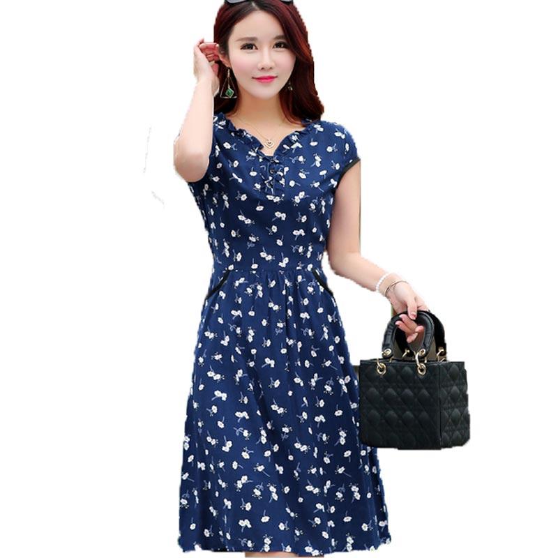 3127 2018 Nuevos Vestidos De Verano Para Mujer Casual De Talla Grande Con Cuello En V Estampado De Manga Corta Vestido Suelto De Algodón Talla