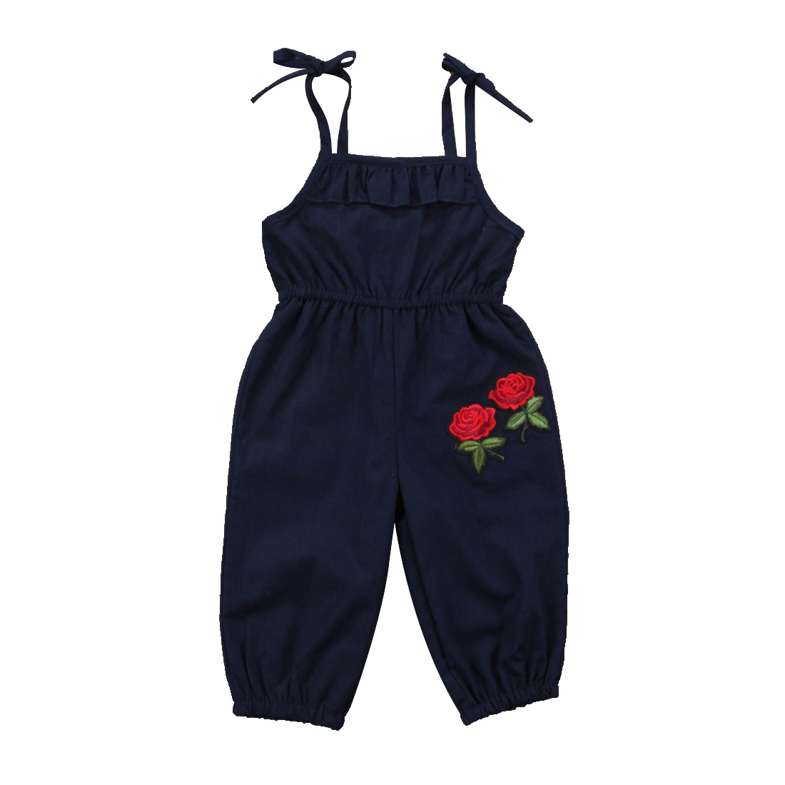 Strap Kids Baby Girls Embroideried Floral Rompers Sleeveless Blue Summer Romper Jumpsuit Playsuit Outfit Clothes 1-6Y