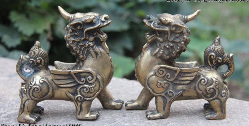 Exquisite China Fengshui Pure Brass Evil Dragon Kylin Unicorn Wing Beast statue