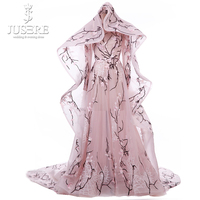 High end Two Pieces See Through A line Long Sleeves Pink Haute Couture Train Long Cape Luxury Embroidery Wedding Dress 2018
