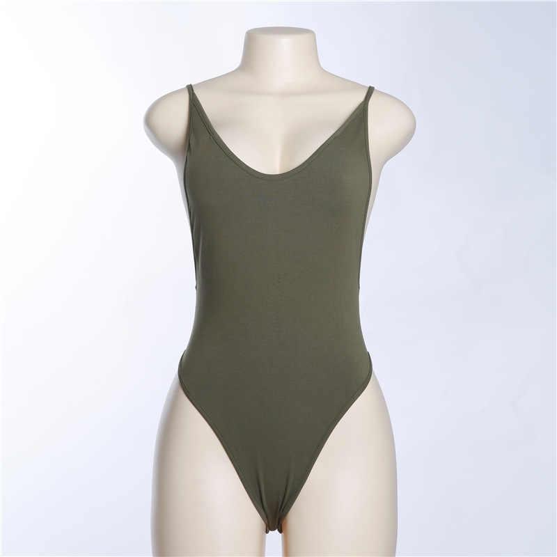 Skitzyou тела летнее Боди без рукавов Сексуальная спинки Черный Топ Облегающий комбинезон 2019 Для женщин модные базовые вечерние комбинезон