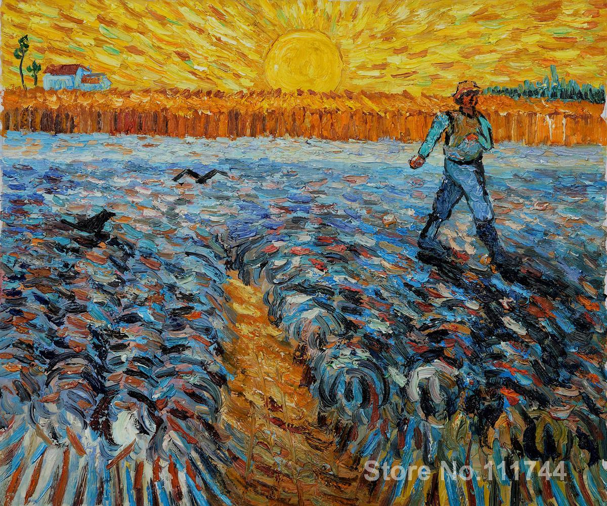 Wall art Sower with Setting Sun by Vincent Van Gogh paintings on canvas Handmade High qualityWall art Sower with Setting Sun by Vincent Van Gogh paintings on canvas Handmade High quality