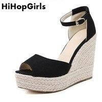 HiHopGirls 2018 New Hot Femmes Romaines Pompes En Daim Poissons bouche boucle sexy Talons hauts D'été Sandales Solide couleur parti Femme chaussures