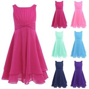 Image 2 - Iefiel 소녀 쉬폰 매듭 허리와 파란 꽃 소녀 드레스 공주 미인 대회 결혼식 신부 들러리 생일 파티 여름 드레스