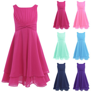 Image 2 - iEFiEL Girls Chiffon Knotted Waist and Ruched Flower Girl Dress Princess Pageant Wedding Bridesmaid Birthday Party Summer Dress