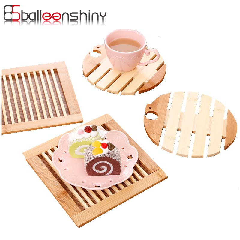 BalleenShiny Non-slip Insulation Pads Placement Bamboo Wood Table Mats Bird Shape Square Coaster Kitchen Household Tableware