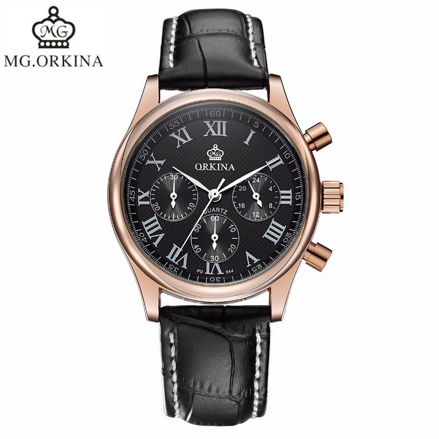 2017 MG.Orkina Men Rose Gold 6 Hands Man Dress Quartz Sport Men's Watch Mens Wirst Watches Gift Box Free Ship fashion men s horloges mannen roman auto day quartz stopwatch sport men s watch mens wirst watches gift box free ship