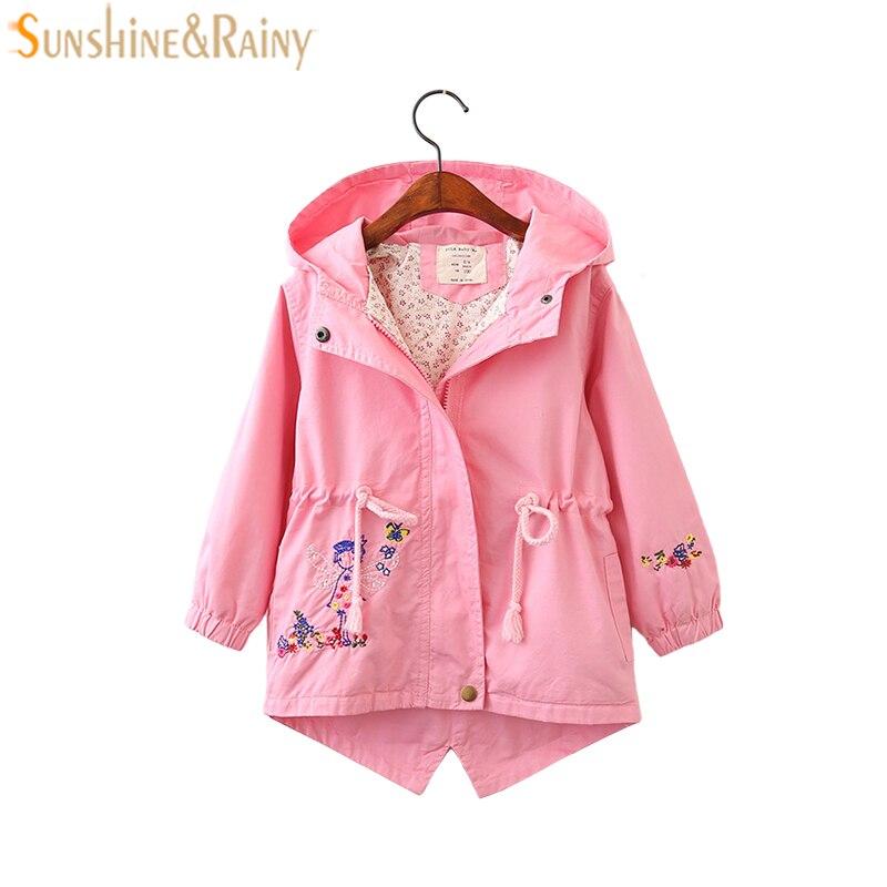 Цветок вышитые Весенние жакеты для Пальто с капюшоном для девочек для маленьких девочек ветровка детская куртка и пальто осень детская вер...