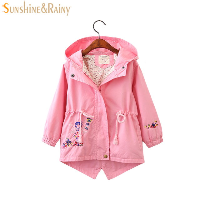 8109e2f93 Flower Embroidered Spring Jackets For Girls Hooded Coat Baby Girl ...
