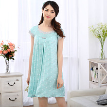 Woman summer short-sleeved nightgown modal lace Korean version of sweet princess  women tracksuit free home delivery
