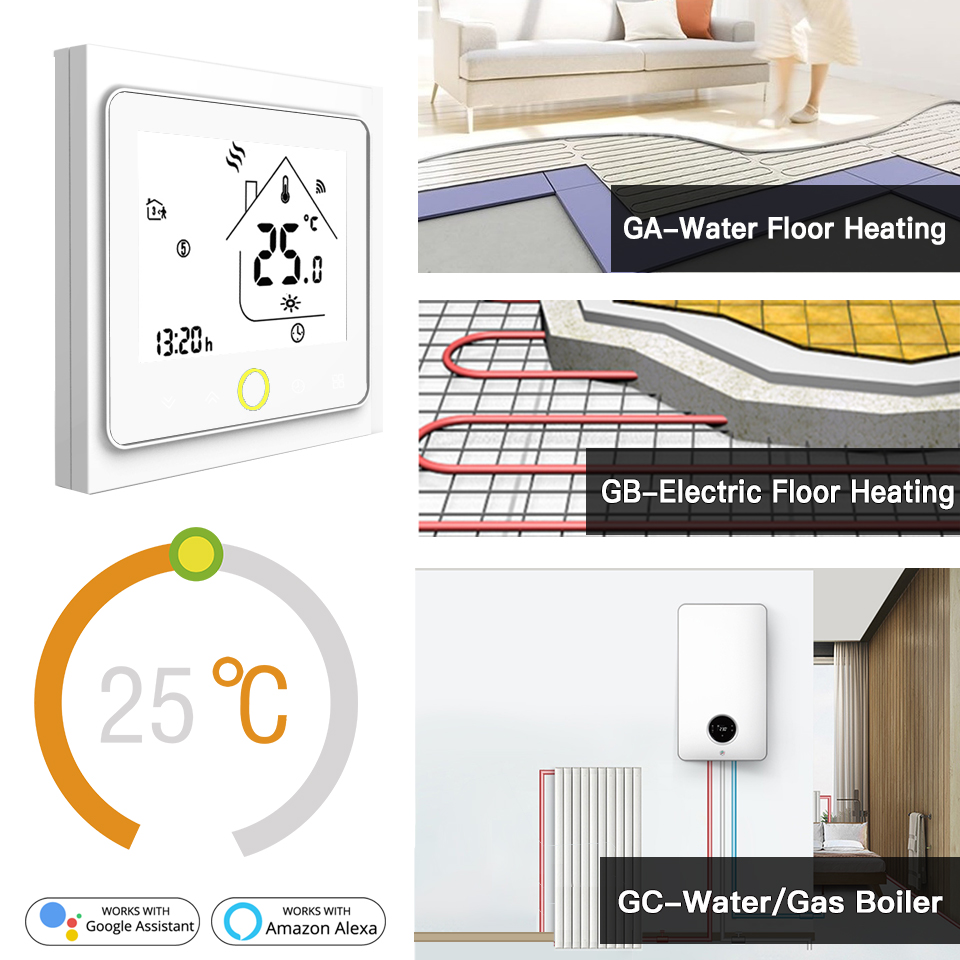 Smart WiFi Thermostat Temperature Controller Water Electric Heating Water Gas Boiler Works With Alexa Echo Google Home Tuya