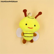 1PCS Mini Bee Plush Toys Kawaii bees Stuffed Toy Doll Small Pendant Activities Gift For Kids 2019 New Hot Sale 8CM HANDANWEIRAN