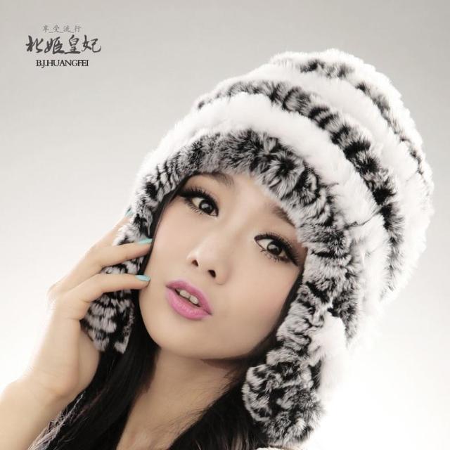 Шапка с ушами настоящее кролик меховая шапка мода шапки для женщин россии шляпа зимняя