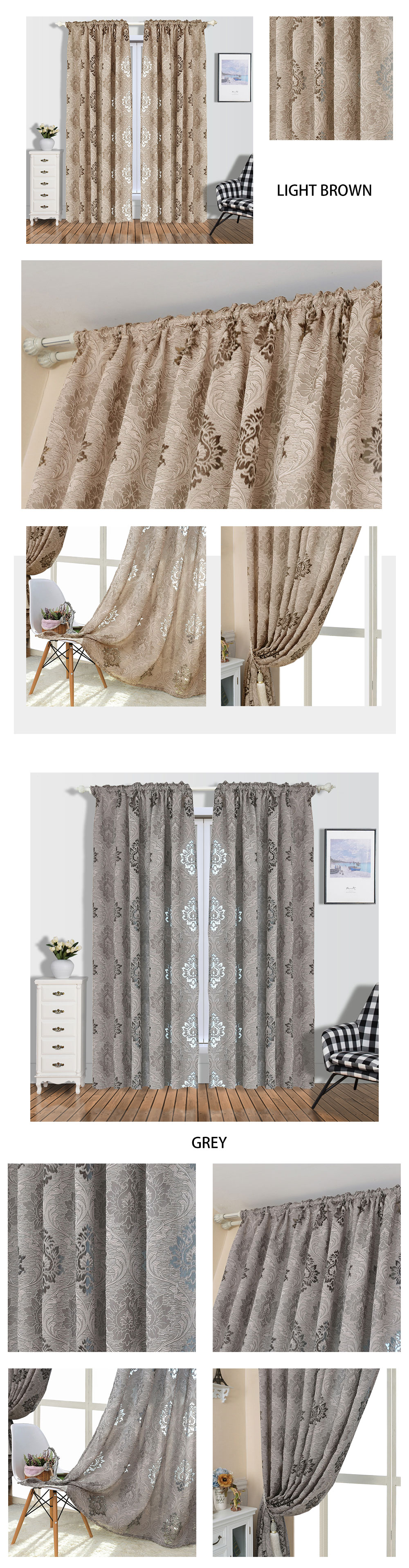 2 NAPEARL Window Panel Screening Floral Jacquard Semi-shades Curtains Free Shipping Brown for Bedroom Natural Ready Made Fabrics (1)