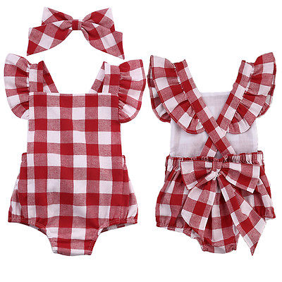 New Fashion British Style Red Plaid Baby Girls Bodysuit Jumpsuit Plaid Back Cross Short Sleeve Baby Girls Clothes Red 0-18M