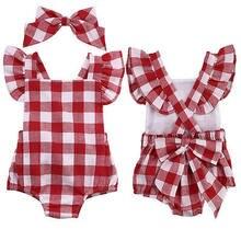f3cce1691 Nueva moda de estilo británico a cuadros rojo Niñas mono Plaid back Cruz  manga corta bebé Niñas rojo 0 -18 m