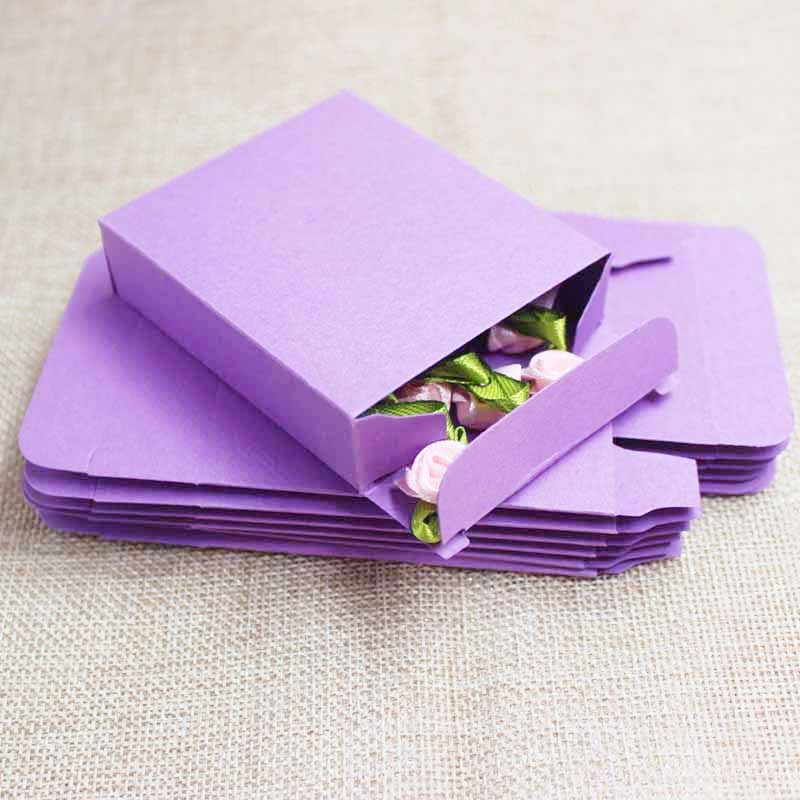 DIY Blank Two Size Candy Favor Box Purple/blue/ Green Jewelry Packaging Box Wedding Favors And Gifts Display Box 10pcs Per Lot