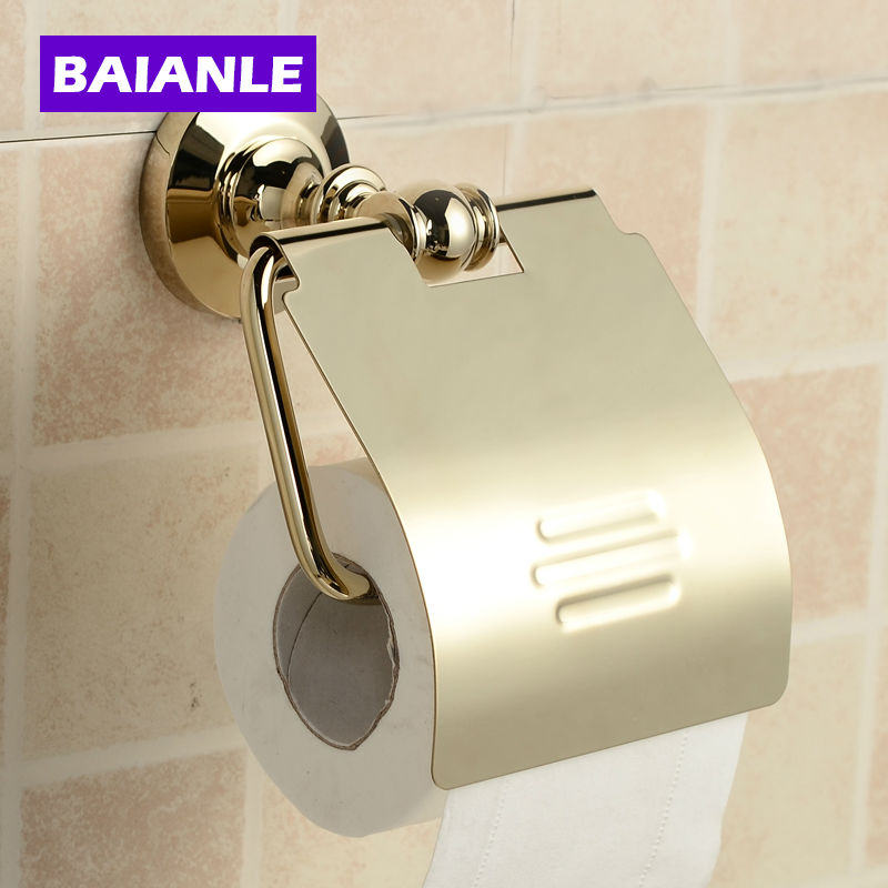 все цены на Bathroom Accessories banheiro Products Solid Brass Chrome Toilet Paper Holder,Roll Holder, paper Holder With Cover онлайн