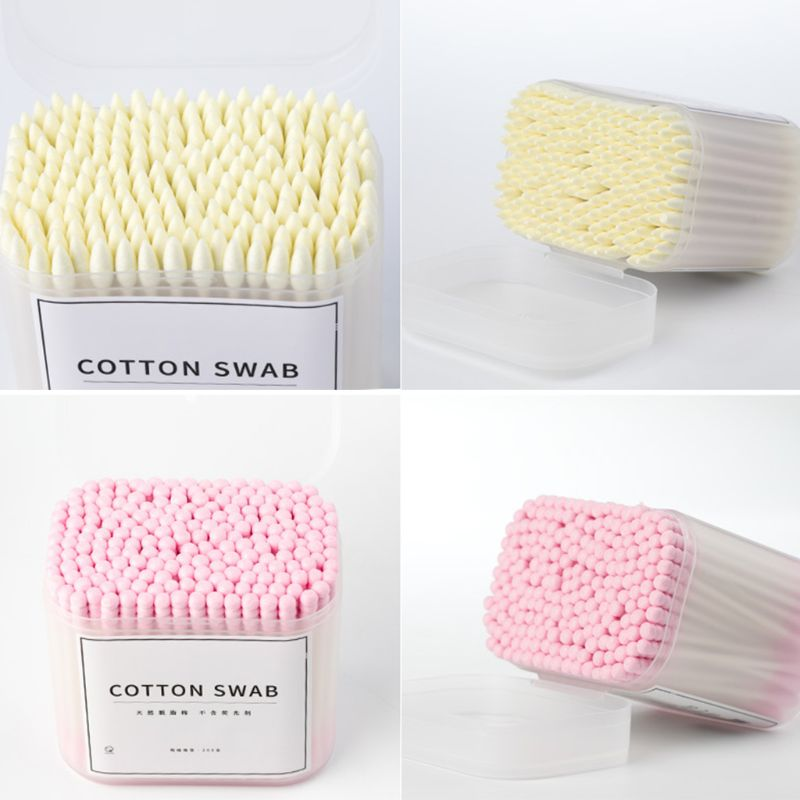 Absorbent Cotton Swabs Adult Kids Double Ended Sterile Paper Sticks Round Spiral Tip Ear Cleaning Buds Beauty Makeup Tool