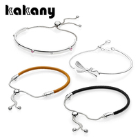 KAKANY 100% 925 Sterling Silver EXPLOSION OF Lovers Jewelry BRILLIANT BOW MOMENTS Golden Tan Leather Sliding BLACK LEATHER