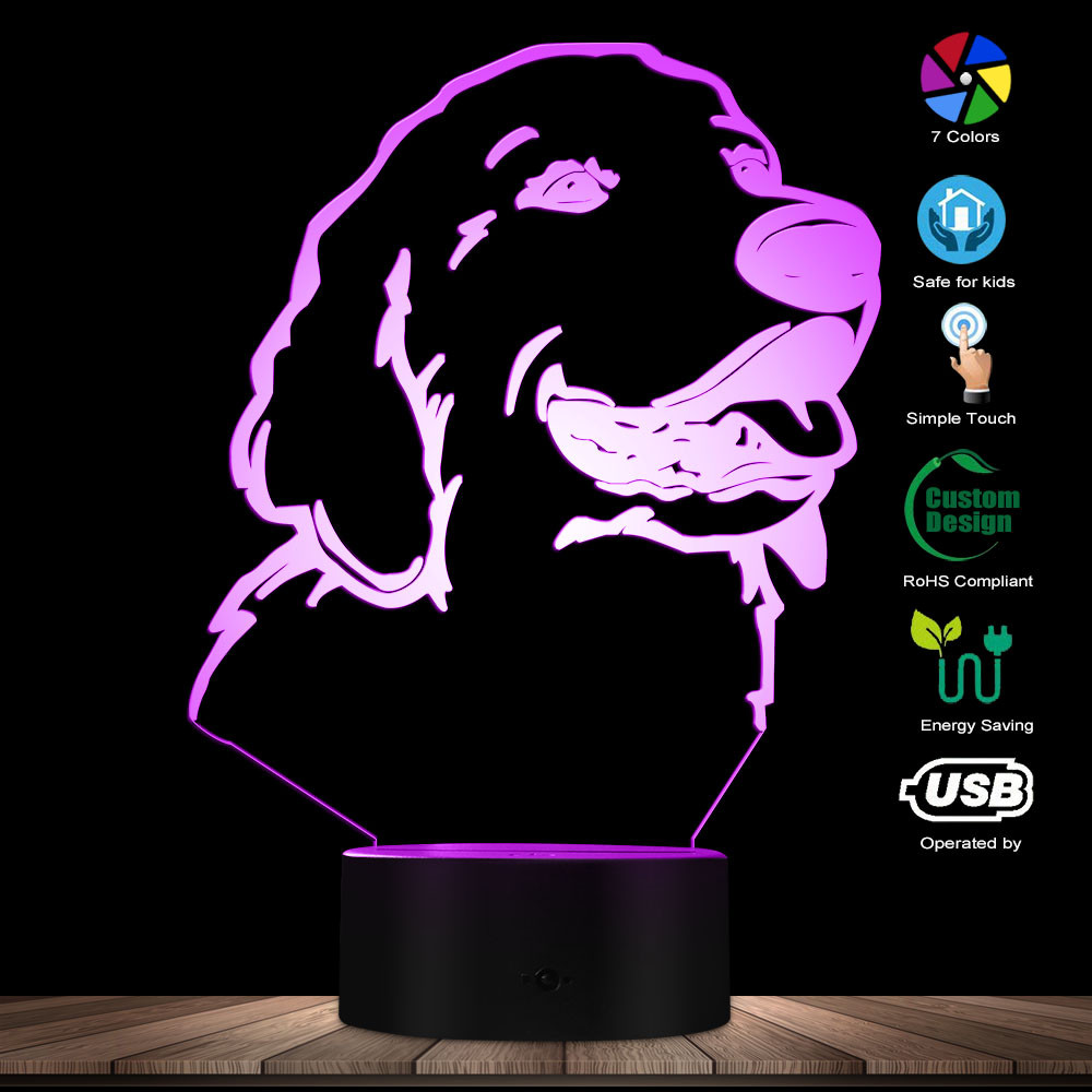 3D Golden Retriever Dog Shape Modern Design Customize Name LED Night Light Pet Desk Decor Lamp Puppy Sleepy Light Dog Lover Gift
