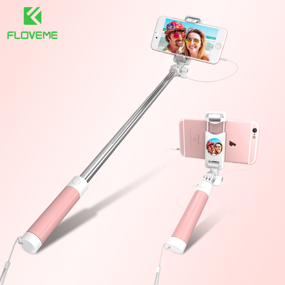 FLOVEME Universal Mini Selfie Stick 360 Rotatable Foldable Portable Extendable Wired Self Stick For iPhone Samsung Huawei Xiaomi floveme universal selfie stick for samsung galaxy s8 xiaomi huawei meizu etc wired selfie stick for iphone 6 7 adjustable selfie