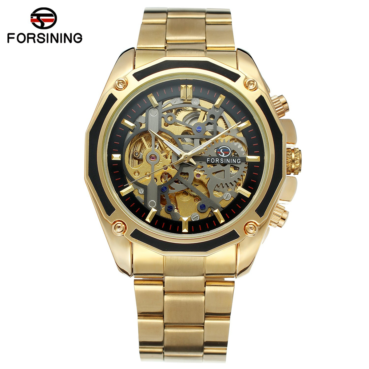 Forsining Steampunk Gold Watches Men Automatic Mechanical Skeleton Watch Men Steel Wristwatch Male Clock Gift Relogio Masculino unique smooth case pocket watch mechanical automatic watches with pendant chain necklace men women gift relogio de bolso