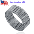 Titanium Stainless Steel Silver Plated 7mm Wide Mesh Band Ring for Women Men - Ship From US