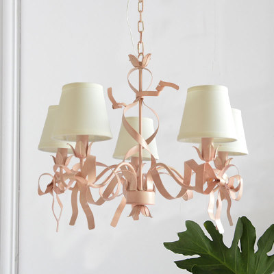 <font><b>Bar</b></font> Salon Led pink <font><b>pendant</b></font> <font><b>Light</b></font> Bow <font><b>pendant</b></font> lamp for Wedding lighting children room Pink Iron hanging lamp Suspension lustre image