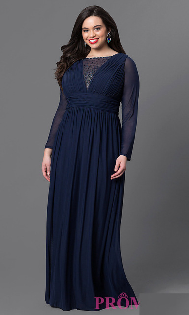 5ddf86476c08 Navy Blue Chiffon Plus Size Evening Dresses 2016 Abendkleider Summer Dress  Long Sleeve Lady Beads Party Dress Robe de Soiree
