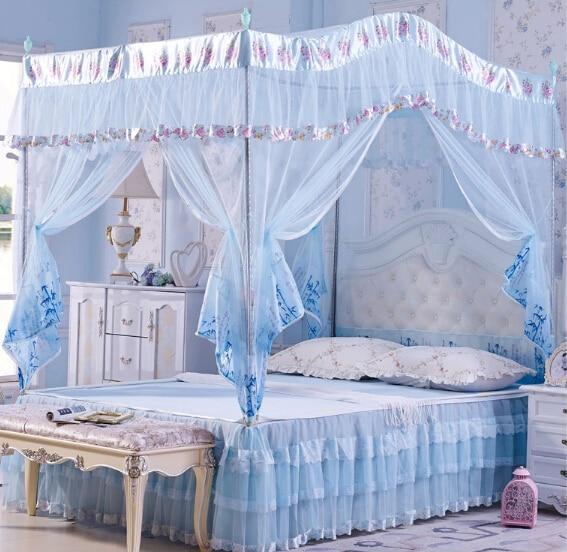 hoge kwaliteit klamboe hemelbed gordijnen paleis klamboe drie deur luxe bed luifel met roestvrij stalen