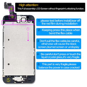 Image 2 - part original Full assembly LCD Screen for iPhone5/5C/5S/SE LCD Display Touch Screen Digitizer full Replacement home butt Camera