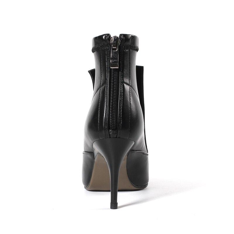 Invierno Mujer Del Punta Tobillo Negro Botas Cremallera En Msfair Las Alto Zapatos Mujeres Tacón Genuino De Talón Cuero blanco Metal Fino El waZqZd5