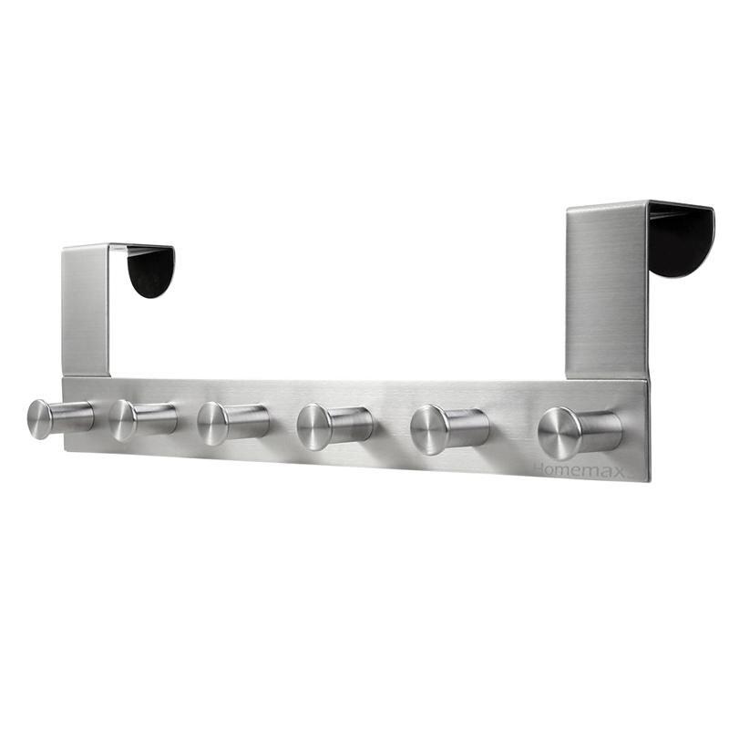 Bathroom Hardware Multi Functional Stainless Steel Wall Mounted Hook Rack Hook Rail Coat Rack 6 Hooks Home Storage Organization Bedroom Bathroom Robe Hooks