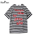 Letter Printed Striped Oversized T-shirt Men 2017 Summer Front Short Back Long Hip Hop Tshirt Hi-end Fashion Mens Tee Shirts