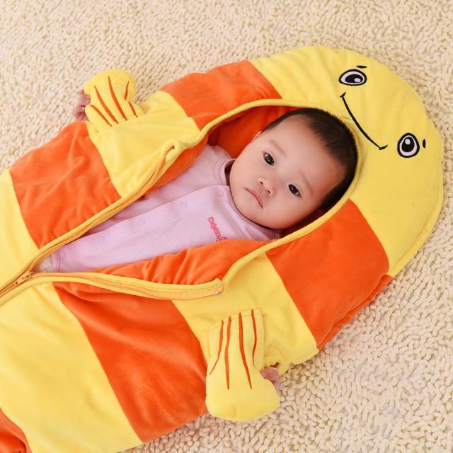 2017 hot Baby Goldfish cartoon Sleeping Bag Kids Animals Overalls Children Mermaid Sleeping Bag Girls/Boys Goldfish