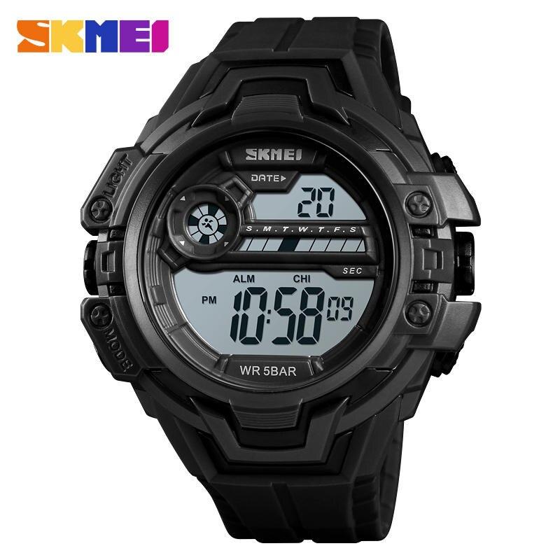 SKMEI Outdoor Sports Swimming Watch Men Military Hour Chronograph 5bar Waterproof Wristwatch Alarm Clock Digital Watches Relogio