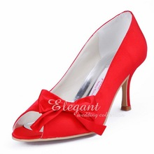 Free Shipping Red Pumps WM-004C Peep Toe Bow Stiletto Heel Satin Evening Party Women Prom Shoes