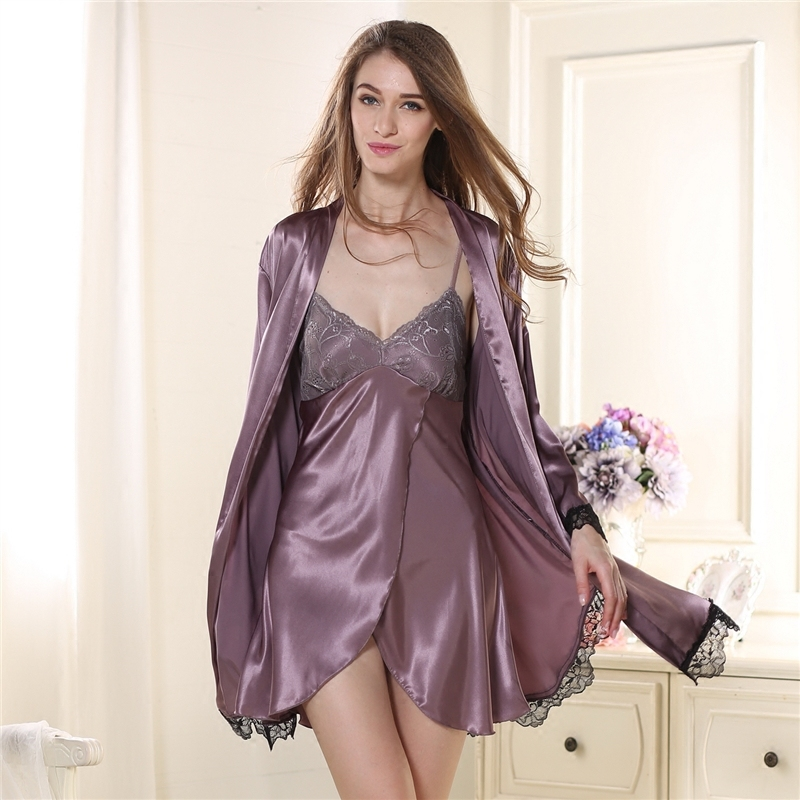 628c5ea69f6 And Autumn Season Sexy Pajamas A Summer Long Sleeve Silk Night Clothes Suit  Charming Taste Underwear Home Furnishing Serve-in Pajama Sets from Underwear  ...