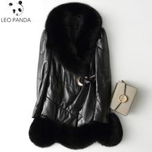 Winter New Women sheepskin overcoat Fox Fur Collar medium-long slim outerwear leather down coat genuine leather female clothing