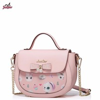 Just Star Brand New Design Animal Printing Pearl Bow PU Leather Women Handbag Girls Ladies Shoulder Crossbody Saddle Bag