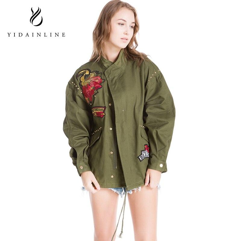 Green VIntage Embroidery   Basic     Jacket   Coat Autumn 2018 Street Satin Bomber   Jacket   Women Reversible Baseball   Jackets   Sukajan