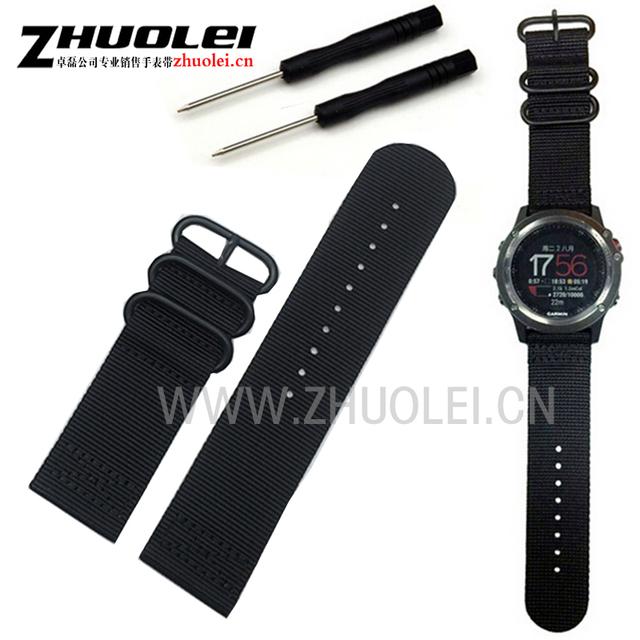 26mm Para Garmin Fenix 3 nylon Watchband Strap Relógio de Pulso À Prova D' Água acessórios do exército preto verde com fecho de aço inoxidável