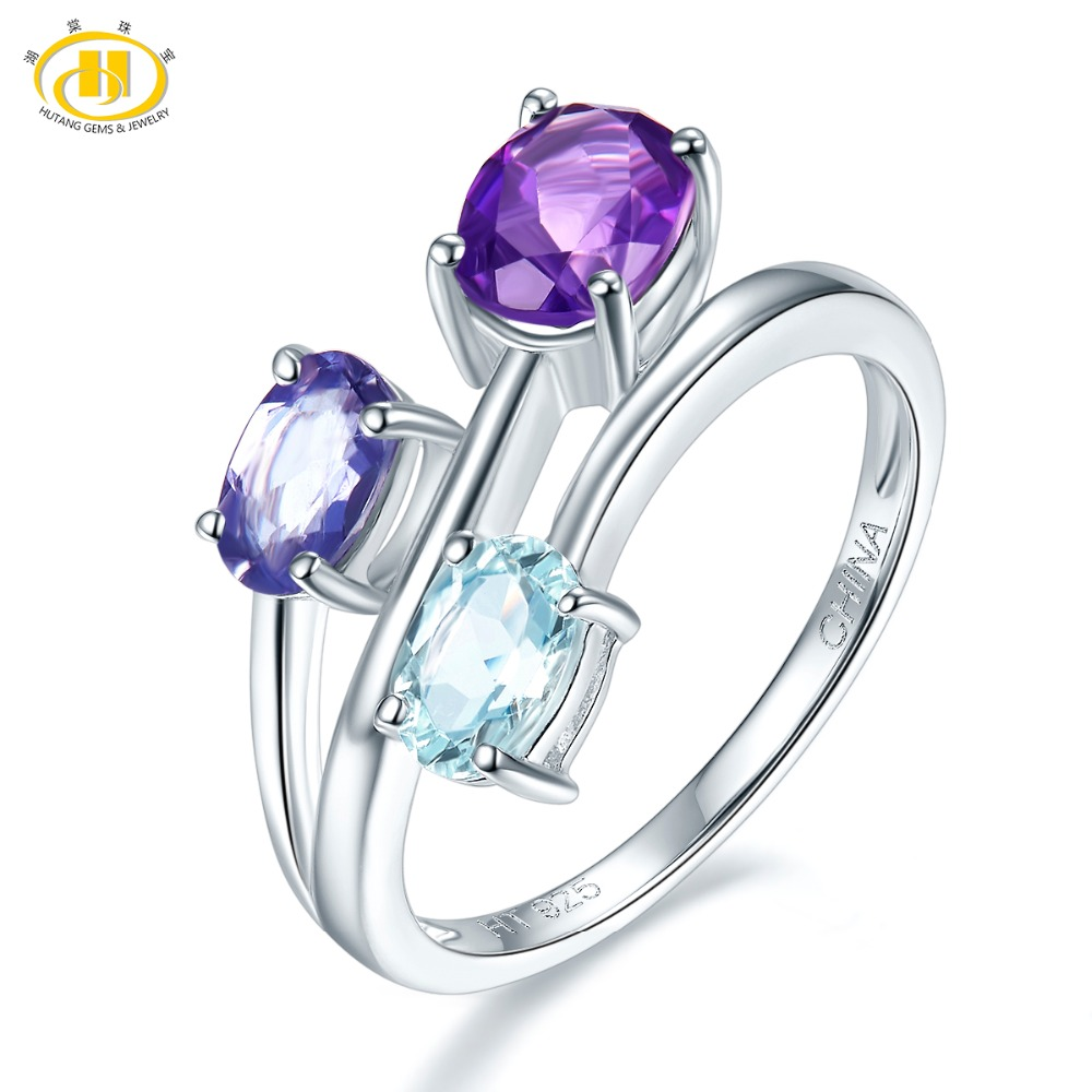 Hutang Aquamarine Rings 925 Sterling Silver Natural Amethyst Iolite Gemstones Engagement Ring for Women's Best Gift Fine Jewelry