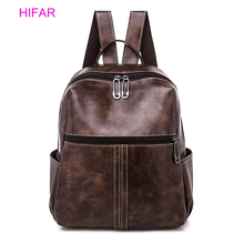 купить Vintage Women Large Capacity Backpacks PU Leather Shoulder Bag Casual School Bookbag Female Solid Mochila Girls Retro Backpack дешево