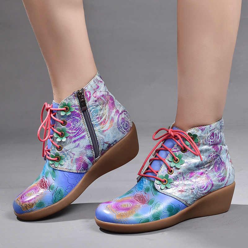 Обувь на танкетке из натуральной кожи с круглым носком; повседневная обувь на молнии; Новинка 2019 года; сезон осень-зима; этнический цветочный принт; женские ботинки с перекрестной шнуровкой